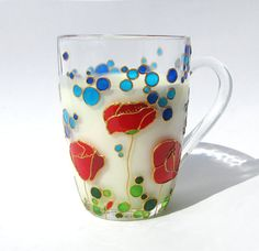 Coffee Mug Red Poppies Hand painted Glass Bubbles by ArtMasha