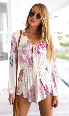 Floral white playsuit   perfect for picnic and date night  Mura Boutique