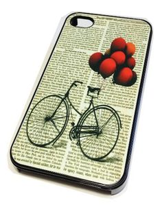 Apple iPhone 4 4G 4S Case Cover Skin BLACK HARD Plastic Bicycle Red Balloon Retro Vintage Hipster Dictionary Cute Art Print by MonoThings, http://www.amazon.com/dp/B00EMSJXE0/ref=cm_sw_r_pi_dp_v-xesb15SWWJA