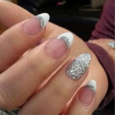 White and Sparkly Silver French Tip Nails