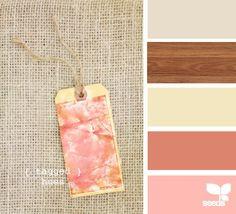 coralish and gray with spanish oak floor