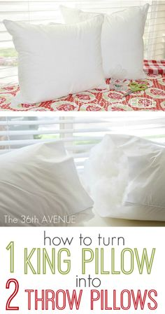Craft Tip: Bed Pillow into TWO Throw Pillows
