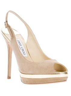 Nude suede 'Frosting' sandals from Jimmy Choo featuring an open toe, a sling-back ankle strap with a side buckle fastening, a gold-tone platform sole and a high stiletto heel.