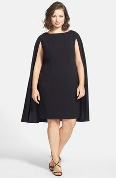 Adrianna Papell Cape Sheath Dress (Plus Size)
