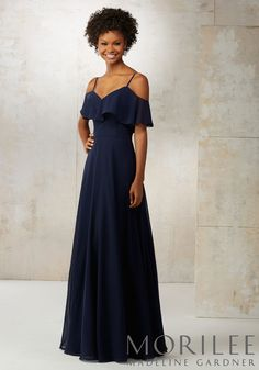 Morilee by Madeline Gardner Bridesmaid Style 21509 | Chiffon Bridesmaids Dress with Off-the-Shoulder Ruffle Detail