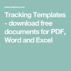 Tracking Templates - download free documents for PDF, Word and Excel