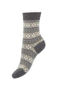 Tara Fairisle socks in camel by Pantherella. Made in England from Merino wool