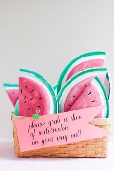 Having a Watermelon theme party and looking for some fun and great ideas for the kids to take home as party favors? We have gathered up some of the best Watermelon party favor ideas. Watermelon Birthday Parties, Fruit Party, Summer Birthday, 2nd Birthday, Birthday Ideas, Watermelon Crafts, Sweet Watermelon, Watermelon Slices, Diy Party Dekoration