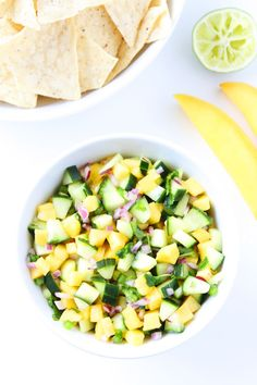 Cucumber Mango Salsa Recipe on twopeasandtheirpod.com This fresh and simple salsa is great with chips, grilled chicken, or fish! The perfect salsa for summertime!
