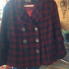 Mac&jac jacket.......red/charcoal plaid Double breasted..... Lined jacket Mac&jac Jackets & Coats