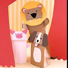 paper bag Animal puppets  http://www.marthastewart.com/264932/paper-bag-animal-puppets?&backto=true&backtourl=/photogallery/paper-crafts