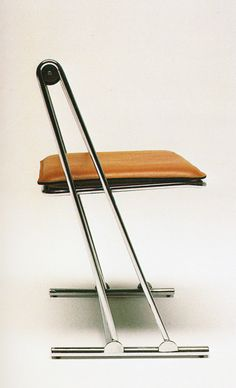Gastone Rinaldi Chromed Metal and Leather 'Desy' Chair for Thema, 1970s.