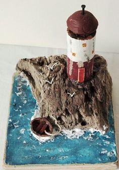 Driftwood LighthouseSculpture Recycled ArtNautical by TTassel