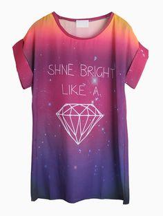 Diamante de impressão mergulhado Chiffon T-shirt