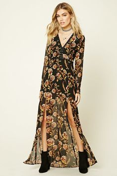 FOREVER 21 Floral Print M-Slit Maxi Dress