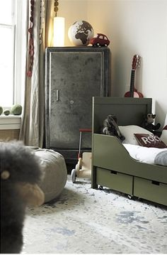 Vintage boys room - love the under bed storage