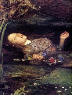 John Everett Millais: Ophelia (detail)    Millais. Oil painting. 1852.    So beautiful! I've seen something like this in a movie once too. Enchanting.