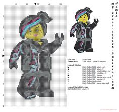 Lego Wildstyle Lucy the lego movie cross stitch pattern (click to view)