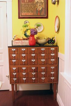 The ultimate recipe organizer - I can't believe I have never thought to use my card catalog in the kitchen.  Done!