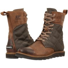 SOREL Madson Tall Lace (Autumn Bronze) Men's Waterproof Boots ($220) ❤ liked on Polyvore featuring men's fashion, men's shoes, men's boots, men's work boots, mens boots, mens lace up boots, mens tall boots, mens waterproof work boots and sorel mens boots