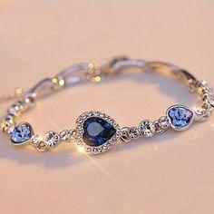 Hottest Womens Ladies Crystal Rhinestone Bangle Ocean Blue Bracelet Chain Heart Jewelry