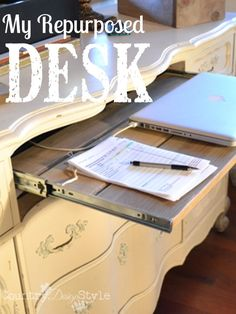 How I turned an unused piece of furniture into a well used and organized desk.  Buffet repurposed, upcycled & DIY into a blogging home office area.  Country Design Style