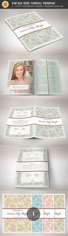 Vintage Rose Funeral Program Template - Informational Brochures