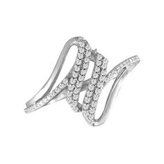 0.20 CT. T.W. Diamond Abstract Ring in Sterling Silver - Size 7  - Peoples Jewellers