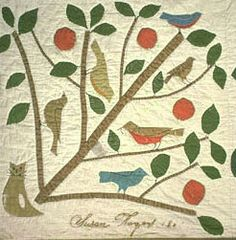 Cat & Birds Block, from Appliqued sampler by Susan Rodgers, 1867, Brooklyn, New York  Collection of the Smithsonian Institution.  Good idea for wool applique piece.