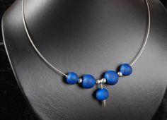 """Halsreife - """"Meerestiefe"""" Perlen Collier aus Fimo Fimokette - ein Designerstück von 9124gringo bei DaWanda"""