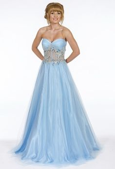 A softly flowing prom dress in pale blue, from Prom Frocks