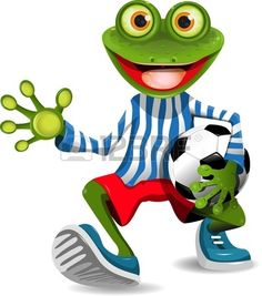 funny frog in top form with the ball