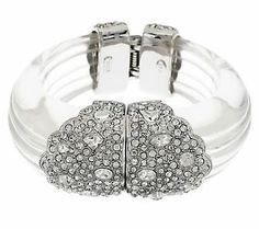 Kenneth Jay Lanes Ribbed Simulated Rock Crystal Bangle Bracelet QVC...