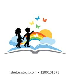 open book, kids and beautiful rainbow sky with butterflies, logo icon - Design Daycare Logo, Library Logo, Education Logo Design, Butterfly Logo, School Murals, School Painting, Book Logo, School Logo, Kids Logo