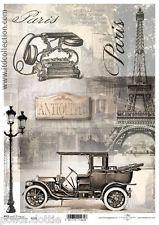 Papel De Arroz Decoupage Scrapbook Vintage Shabby Chic Francesa Eiffel coche Paris teléfono