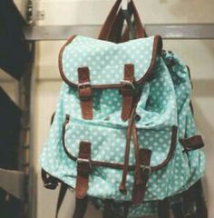 Cute Blue And White Polkadots Backpack