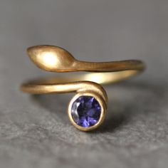 Leaf Ring in 14K Gold and Iolite michelle chang jewelry
