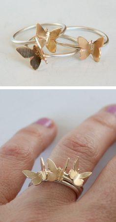 Stacking butterflies rings. It's all fun and games until somebody runs their fingers through their hair