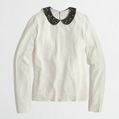 Factory Peter Pan Lace Collar Tee in ivory black lace from J.Crew Factory