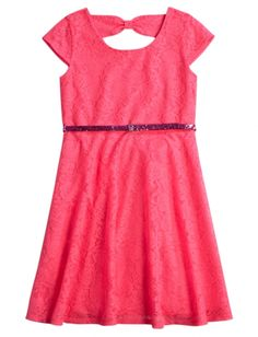 Lace Bow Back Belted Dress | Girls Dresses Clearance | Shop Justice