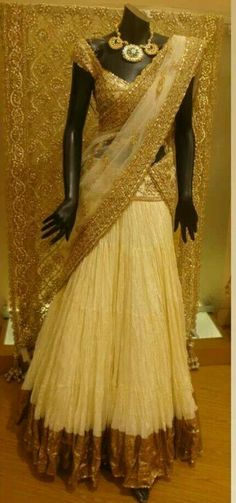 Half white half saree