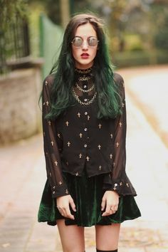 Dark Forest Green Velvet SK8 Skirt W/ Black Sheer Button Up Blouse and Gold Cross Detail / This chicks actually nailing the 90's  Goth look / So Poison Ivy! She looks like she raided my closet in 96! Gah! Even the hair! It's weird.