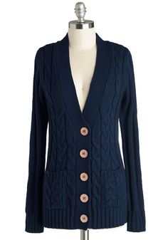 Your Fireside of the Story Cardigan in Navy - Blue, Solid, Pockets, Long Sleeve, Better, Knit, Mid-length, Buttons, Knitted, Scholastic/Collegiate, Variation, V Neck, Blue, Long Sleeve