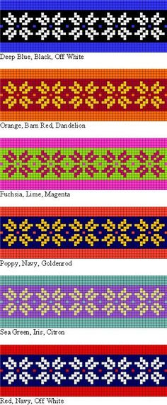 colorwork possibilities for the Two Strands Headband free knitting pattern for teaching Norwegian and Fair Isle style stranded knitting Fair Isle Knitting Patterns, Bead Loom Patterns, Knitting Charts, Knitting Stitches, Knitting Designs, Free Knitting, Crochet Patterns, Filet Crochet, Knit Crochet