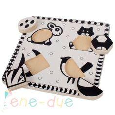BIGJIGS - Drewniane puzzle czarno-białe zwierzęta