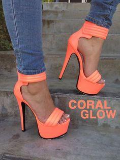 Glowing Coral Heels ~ 20 Trendy Shoe Styles On The Street @styleestate