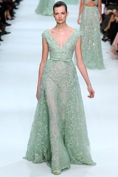 Mint Wedding Dress by Elie Saab  Gorgeous!!! Of course, I don't think you'll go this far with the mint...but something to change into after the wedding... :)
