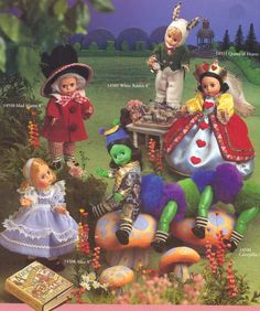 "1995 Madame Alexander, Alice in Wonderland, 8"" Alice 14508 Caterpillar 14594 Mad Hatter 14510 White Rabbit 14509 Queen of Hearts 14511"