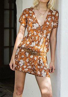 Orange Floral Print Draped Single Breasted Deep V-neck Beach Mini Dress