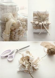 Burlap and lace holiday gift wrapping